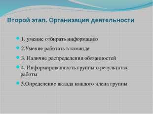 Второй этап. Организация деятельности 1. умение отбирать информацию 2.Умение