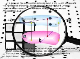 На рисунке две скрещивающиеся прямые a и b. Через каждую из них проведена пл