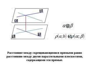 Расстояние между скрещивающимися прямыми равно расстоянию между двумя паралл