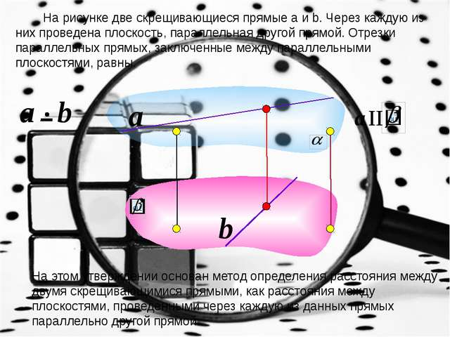 На рисунке две скрещивающиеся прямые a и b. Через каждую из них проведена пл...