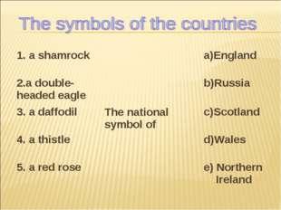 1. a shamrockThe national symbol ofa)England 2.a double-headed eagleb)Russ