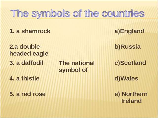 1. a shamrockThe national symbol ofa)England 2.a double-headed eagleb)Russ...
