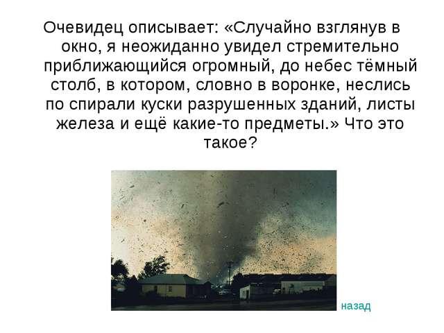 Очевидец описывает: «Случайно взглянув в окно, я неожиданно увидел стремитель...