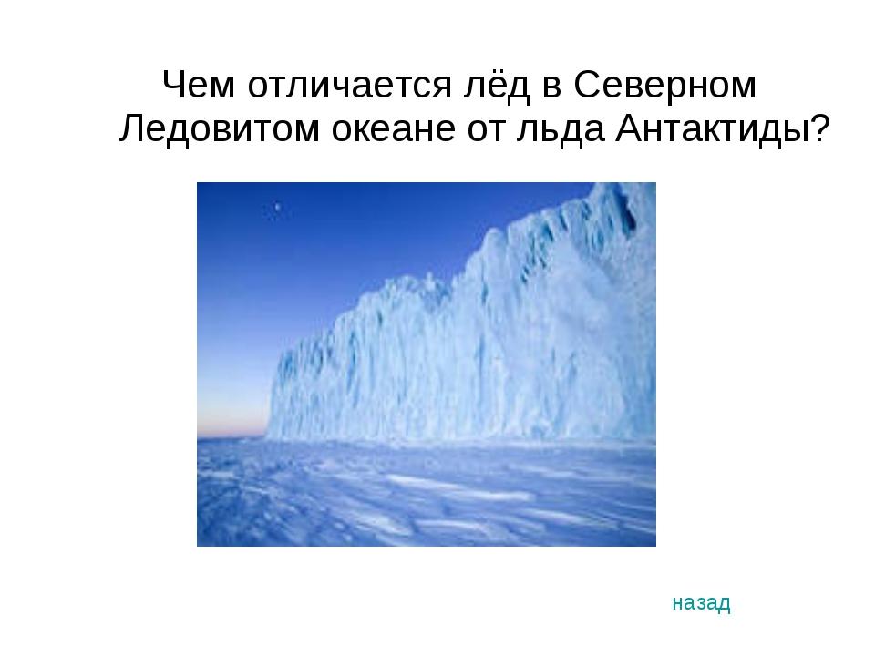 Чем отличается лёд в Северном Ледовитом океане от льда Антактиды? назад