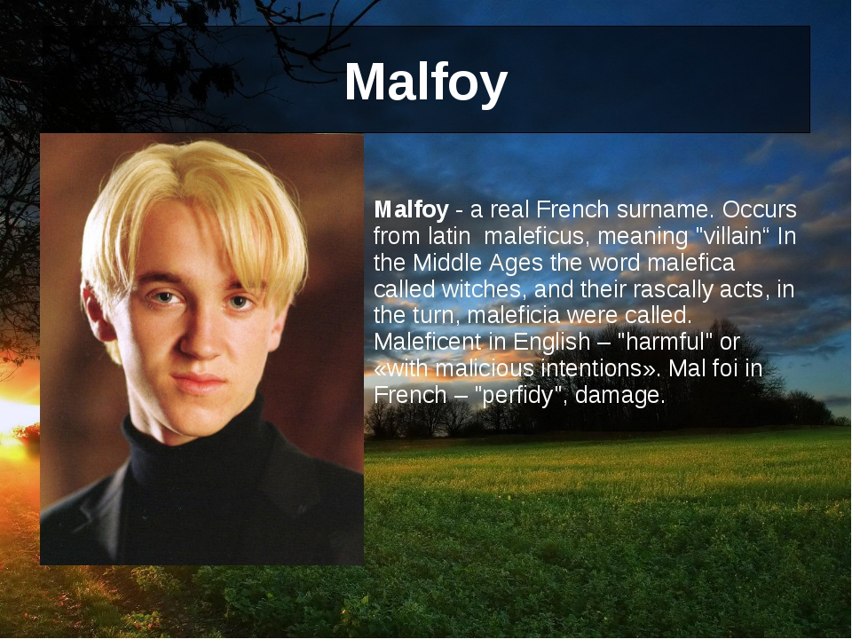 Malfoy 	 Malfoy - a real French surname. Occurs from latin maleficus, meaning...