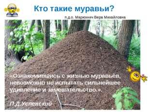 Кто такие муравьи? «Ознакомившись с жизнью муравьёв, невозможно не испытать с