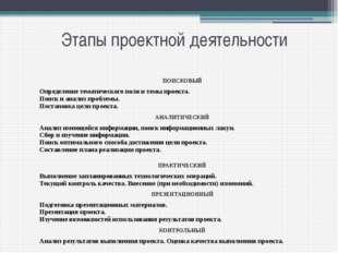 Этапы проектной деятельности ПОИСКОВЫЙ Определение тематического поля и темы