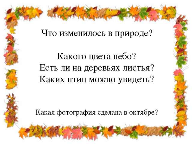 Что изменилось в природе? Какого цвета небо? Есть ли на деревьях листья? Каки...