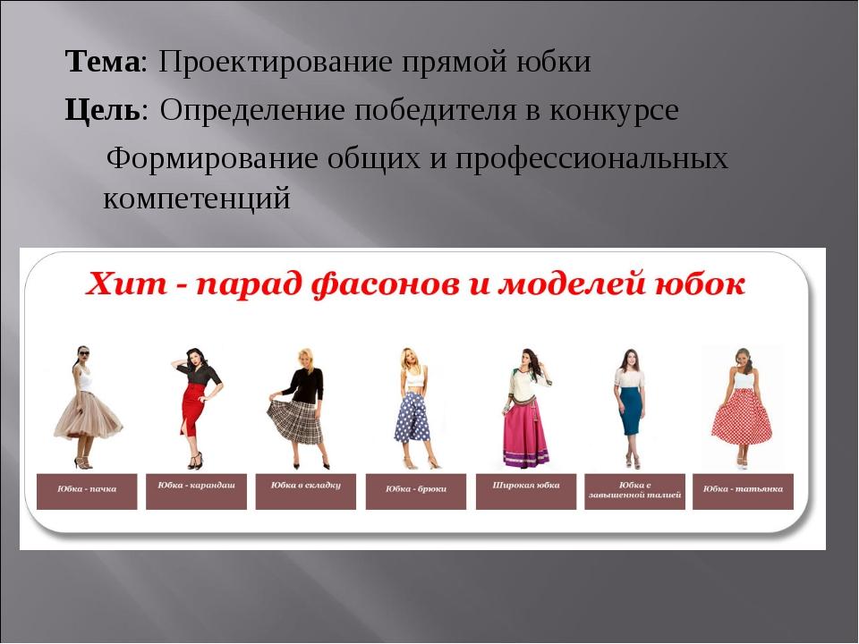 Тема: Проектирование прямой юбки Цель: Определение победителя в конкурсе Форм...