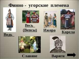 Весь (Вепсы) Корела Ижора Славяне Варяги Финно - угорские племена Водь