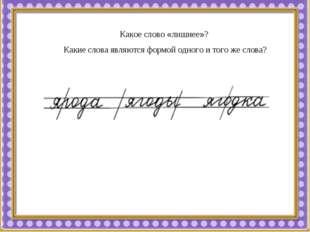 Какое слово «лишнее»? Какие слова являются формой одного и того же слова?