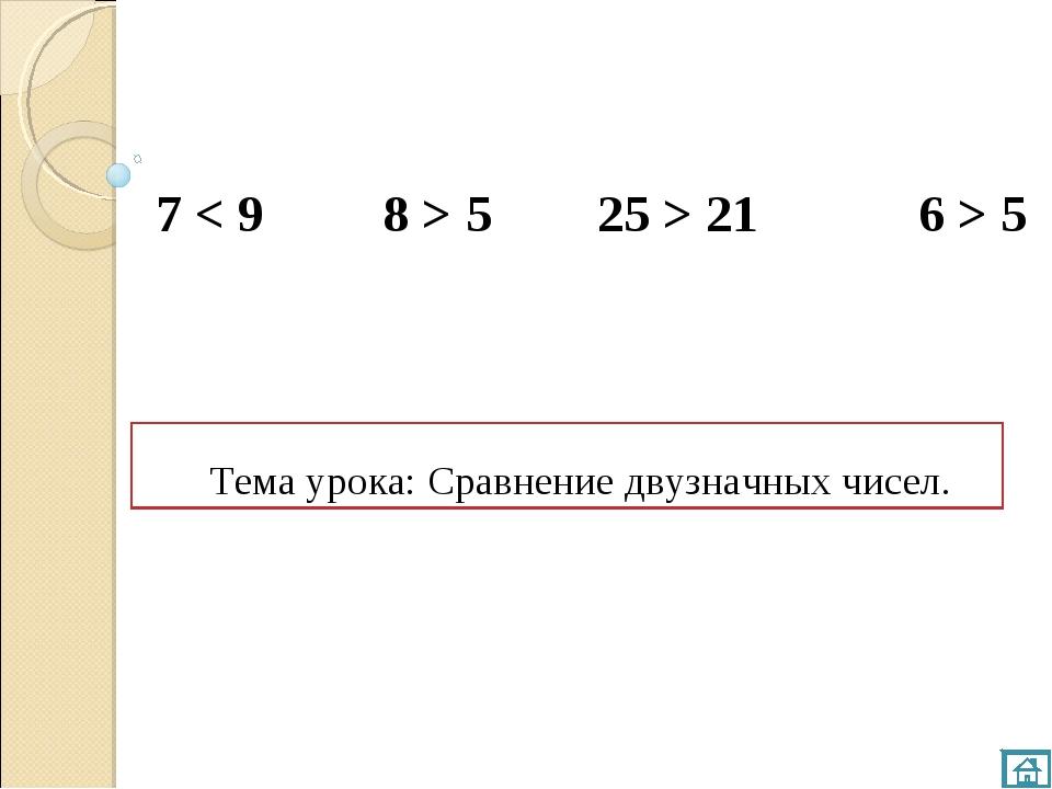 Тема урока: Сравнение двузначных чисел. 7 < 9 8 > 5 25 > 21 6 > 5