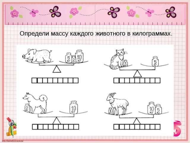 Определи массу каждого животного в килограммах.