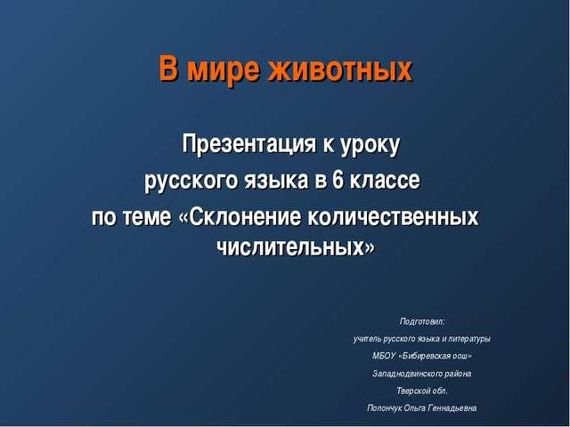 В мире животных Презентация к уроку русского языка в 6 классе по теме «Склоне...