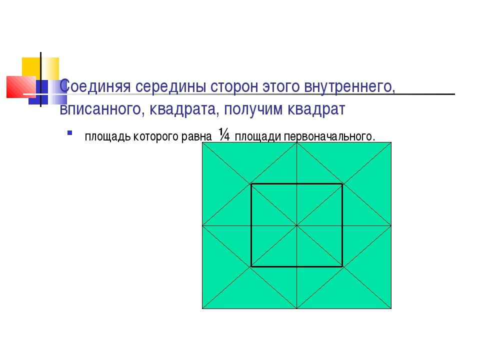 Соединяя середины сторон этого внутреннего, вписанного, квадрата, получим ква...