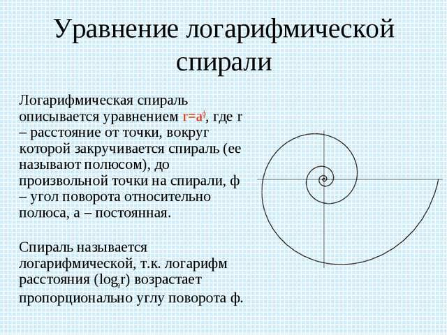 Уравнение логарифмической спирали Логарифмическая спираль описывается уравне...