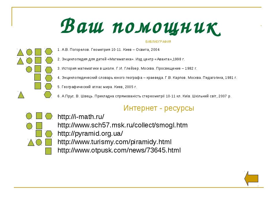 Ваш помощник БИБЛИОГРАФИЯ 1. А.В. Погорелов. Геометрия 10-11. Киев – Освита,...
