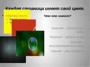 Каждая страница имеет свой цвет. Что это значит? Красная – исчезающие виды. Ж