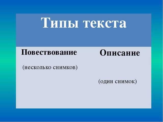 Типы текста Повествование (несколько снимков) Описание (один снимок)