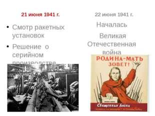 21 июня 1941 г. Смотр ракетных установок Решение о серийном производстве 22 и