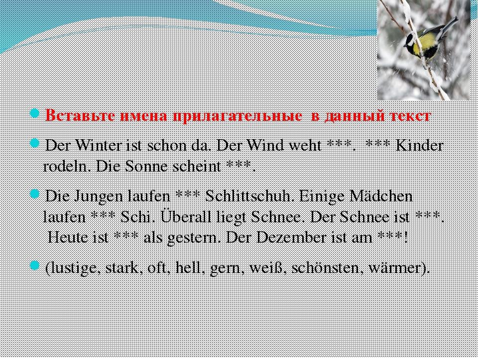 Вставьте имена прилагательные в данный текст Der Winter ist schon da. Der Wi...