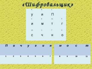 «Шифровальщик» 4 у6 и1 П 2 и8 м11 т5 г 10 с3 ч7 н9 о Пичугин 1
