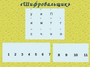 «Шифровальщик» 4 у6 и1 П 2 и8 м11 т5 г 10 с3 ч7 н9 о  1234