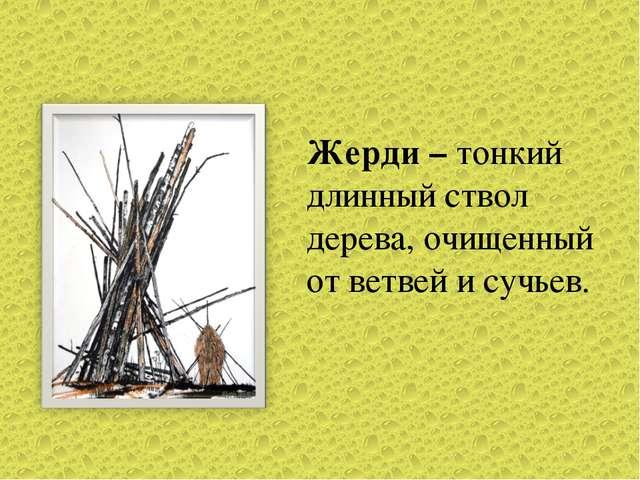 Жерди – тонкий длинный ствол дерева, очищенный от ветвей и сучьев.