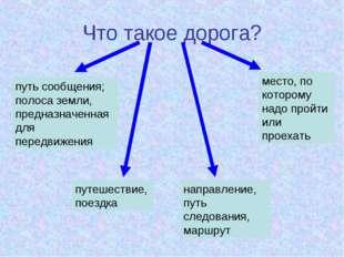 Что такое дорога? путь сообщения; полоса земли, предназначенная для передвиже