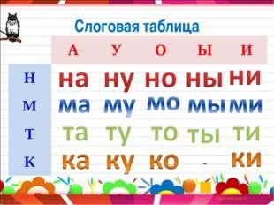 Слоговая таблица АУОЫИ Н М Т К-