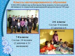 Классы интегрированного обучения В 2012-2013 учебном году на базе школы были