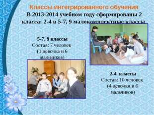 Классы интегрированного обучения В 2013-2014 учебном году сформированы 2 клас