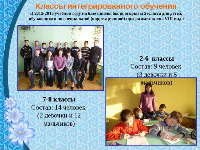 Классы интегрированного обучения В 2012-2013 учебном году на базе школы были...