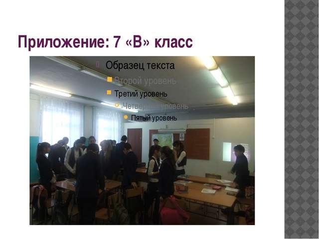 Приложение: 7 «В» класс
