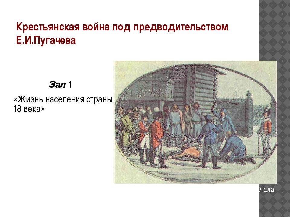 Крестьянская война под предводительством Е.И.Пугачева Зал 1 «Жизнь населения...