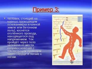 Пример 3: Человек, стоящий на хорошо проводящем основании(на влажной земле ил