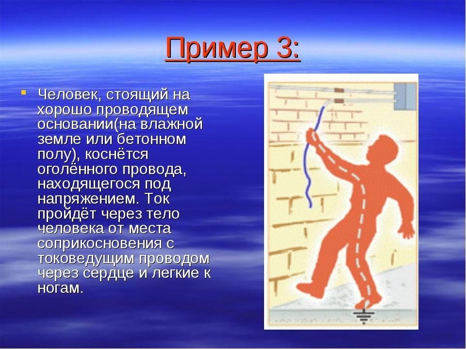 Пример 3: Человек, стоящий на хорошо проводящем основании(на влажной земле ил...