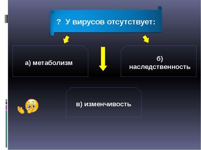 а) метаболизм б) наследственность в) изменчивость ? У вирусов отсутствует: