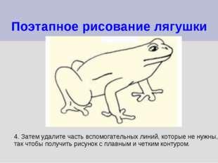 Поэтапное рисование лягушки 4. Затем удалите часть вспомогательных линий, кот