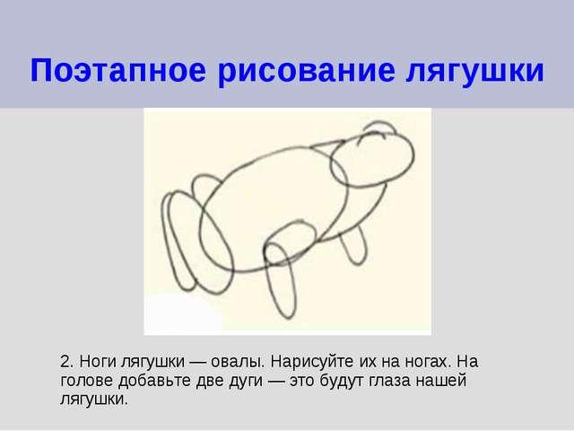 Поэтапное рисование лягушки 2. Ноги лягушки — овалы. Нарисуйте их на ногах. Н...