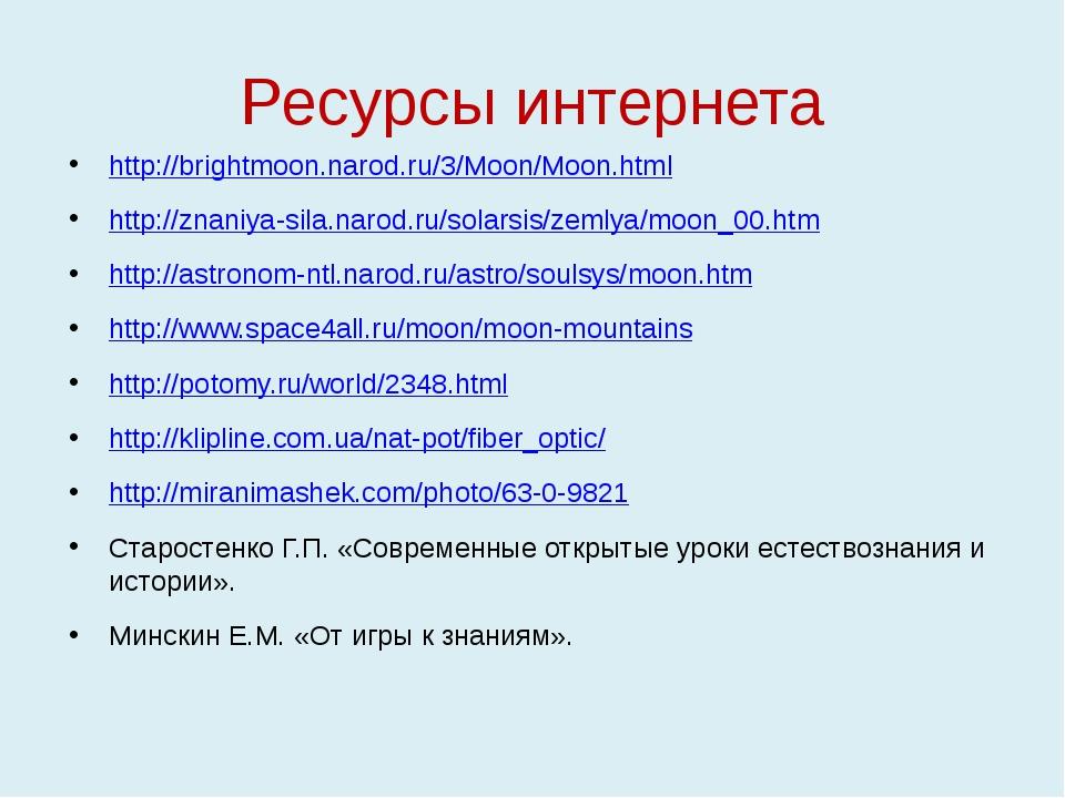 Ресурсы интернета http://brightmoon.narod.ru/3/Moon/Moon.html http://znaniya-...