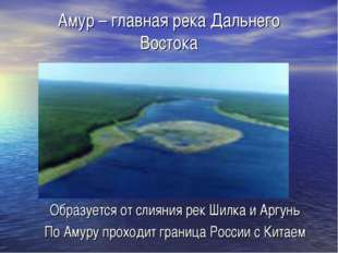 Амур – главная река Дальнего Востока Образуется от слияния рек Шилка и Аргунь
