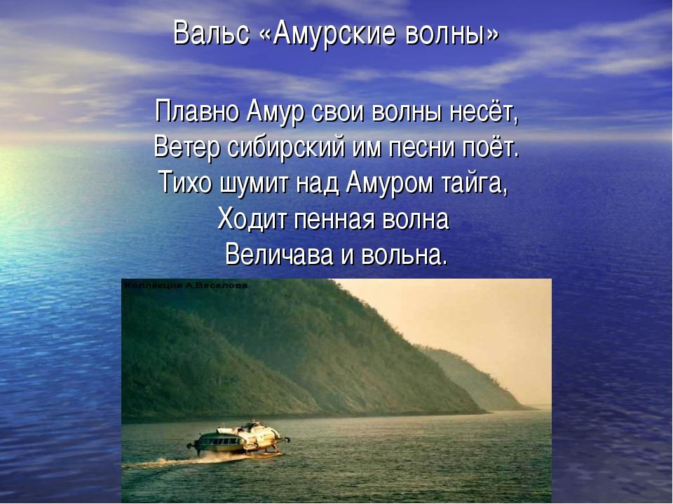 Вальс «Амурские волны» Плавно Амур свои волны несёт, Ветер сибирский им песни...