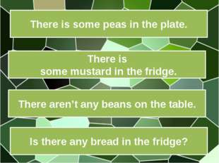 There is some peas in the plate. There is some mustard in the fridge. There a