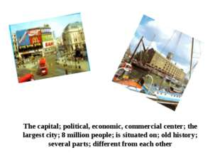 The capital; political, economic, commercial center; the largest city; 8 mill