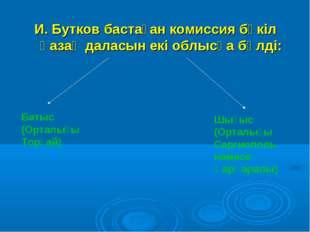 И. Бутков бастаған комиссия бүкіл қазақ даласын екі облысқа бөлді: Батыс (Орт