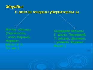 Жауабы: Түркістан генерал-губернаторлығы Жетісу облысы (Сергиополь, Қапал, Ве