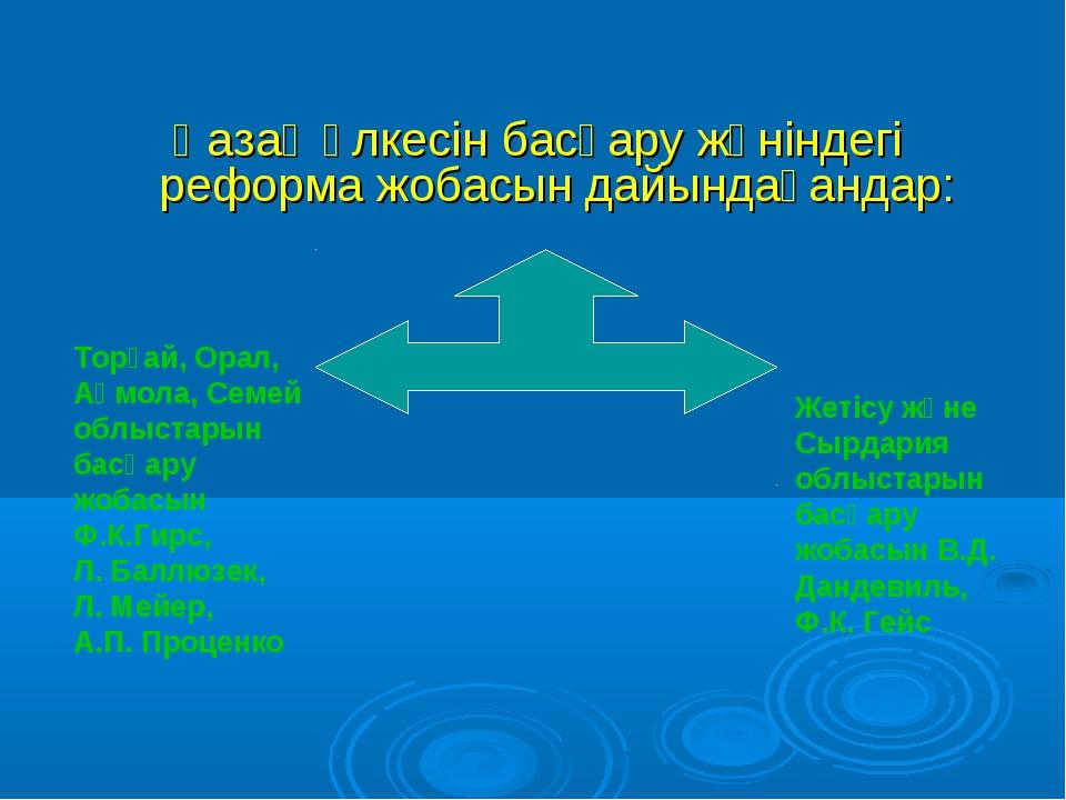 Қазақ өлкесін басқару жөніндегі реформа жобасын дайындағандар: Торғай, Орал,...