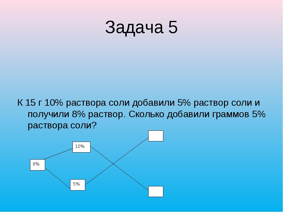 Задача 5 К 15 г 10% раствора соли добавили 5% раствор соли и получили 8% раст...