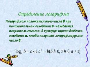 Определение логарифма Логарифмом положительного числа в при положительном осн